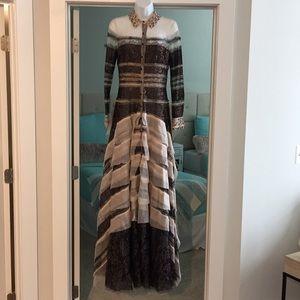 Carolina Herrera metallic lace shirt dress gown 4